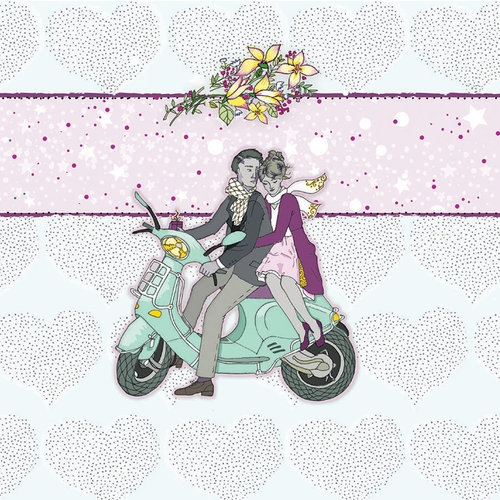 Karnet Swarovski kwadrat Ślub skuter