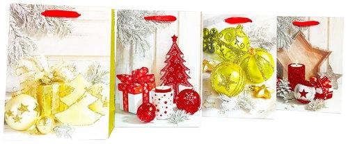 Torebka brokat Świąteczna A4 12 sztuk