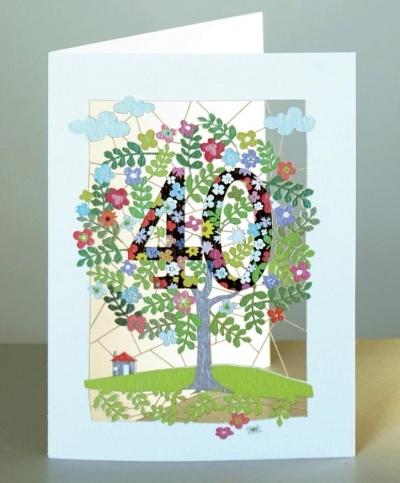 Karnet PM140 wycinany + koperta Urodziny 40