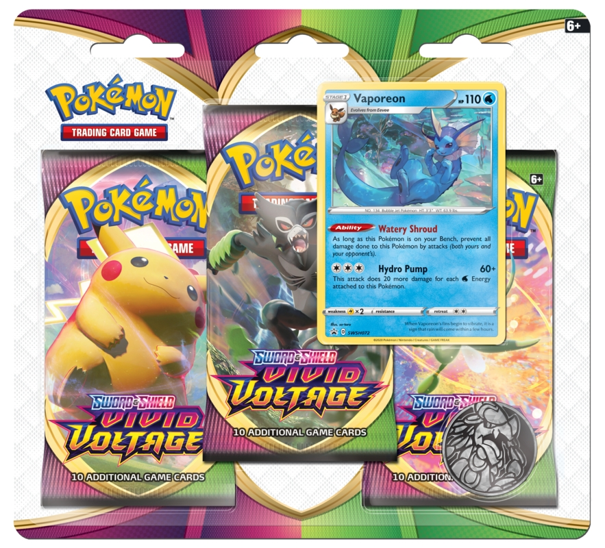 Pokemon TCG: Vivid Voltage - 3-Pack Blister - Vaporeon (80753)