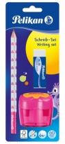 Zestaw ołówek Jumbo B + gumka i temperówka różowy (807432)