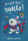 Karnet Dziś jest Twoje święto Najlepsze życzenia niebieski z króliczkiem K.B6-1463