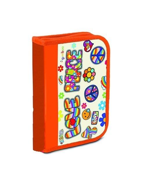 Piórnik szkolny GIMBOO ekonomiczny z wyposażeniem 1 komora, 1 przekładka, pomarańczowy