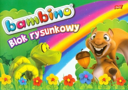 Blok rysunkowy A4 20k Bambino wąż wiewiórka