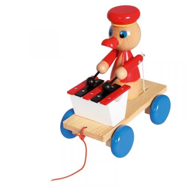 Drewniana zabawka z ksylofonem Pociągnij za kaczkę (80040)