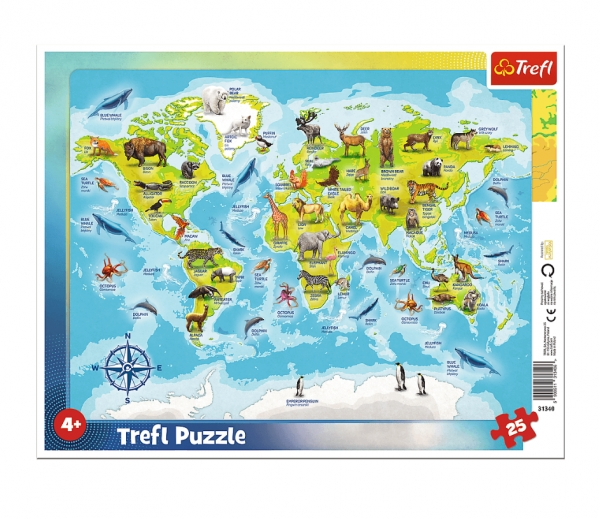Puzzle ramkowe 25: Mapa świata ze zwierzętami (31340)