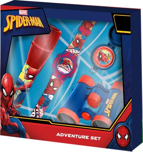 Zestaw z zegarkiem, latarką, lornetką, kompasem - Spiderman (MV15412)