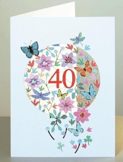 Karnet F40 wycinany + koperta Urodziny 40