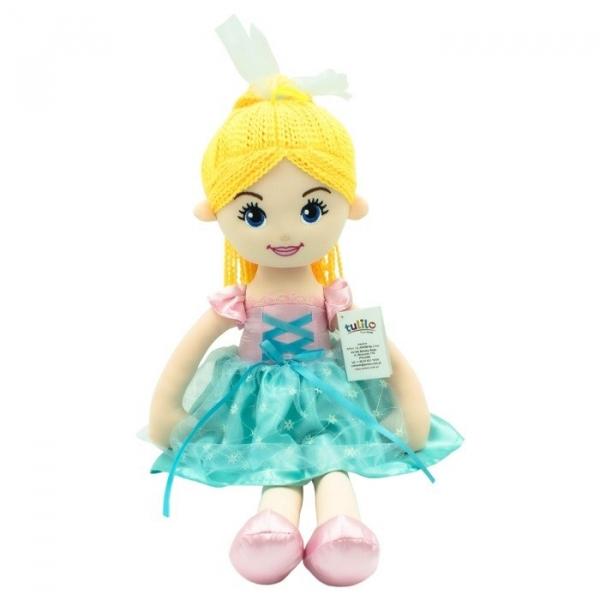 Lalka Emilka miętowa sukienka, blond włosy (5080b)