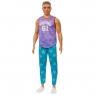 Barbie Fashionistas: Lalka stylowy Ken - T-shirt bez rękawów Malibu, brązowe