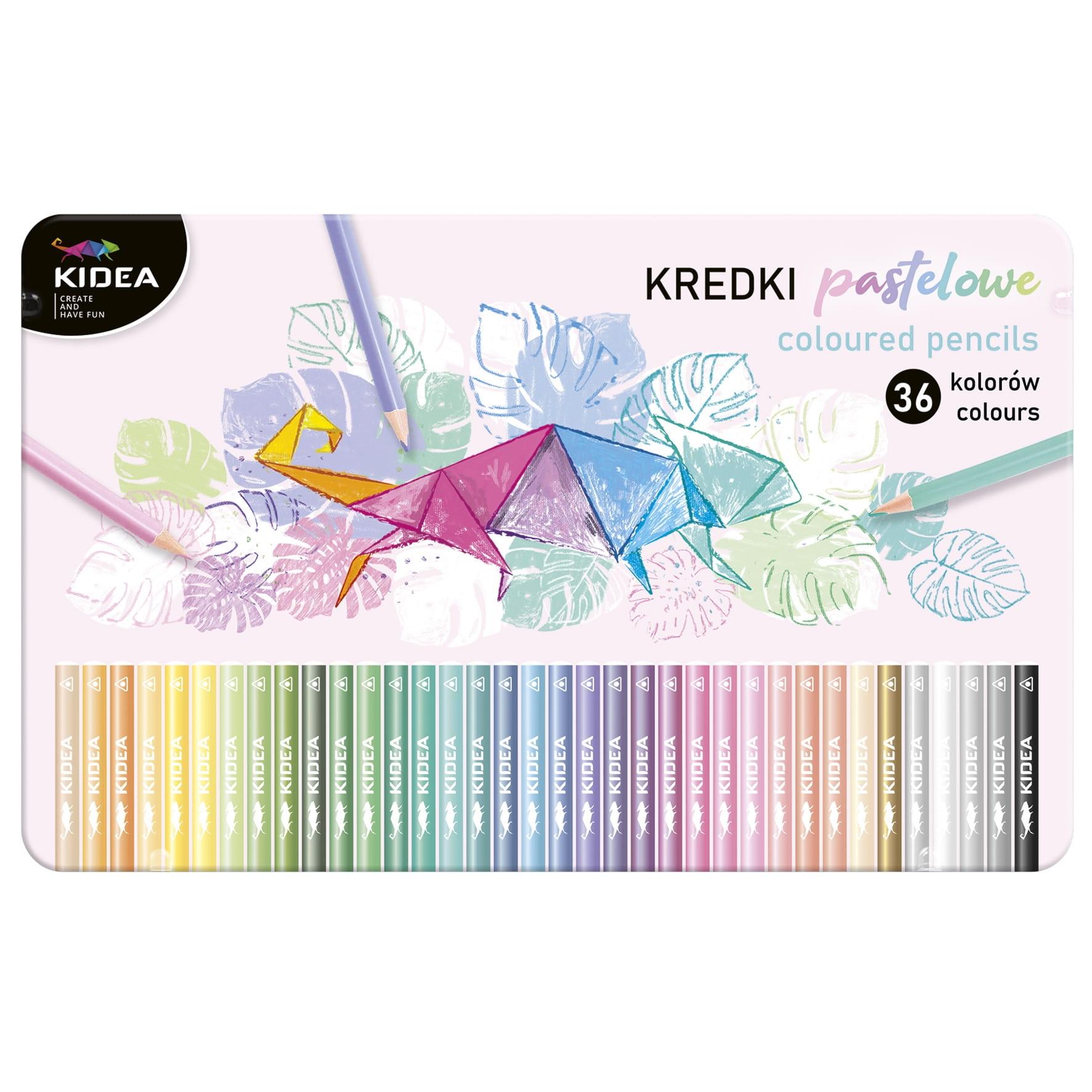 Kredki pastelowe trójkątne w metalowym pudełku, 36 kolorów (KPTMP36KA)