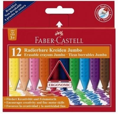 Kredki wymazywalne trójkątne Jumbo Grip, 12 kolorów (122540)