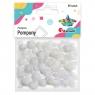 Pompony akrylowe, brokatowe 85 szt. - białe (282994)