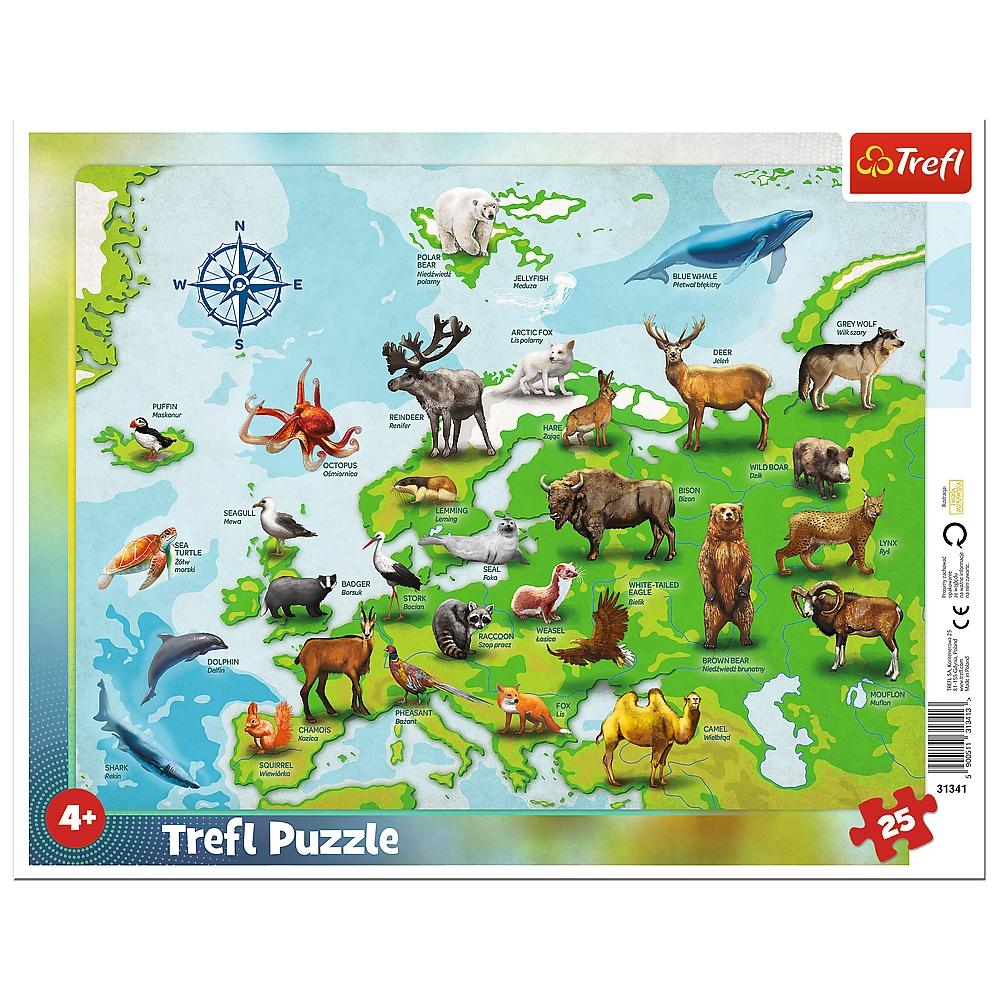 Puzzle ramkowe 25: Mapa Europy ze zwierzętami (31341)