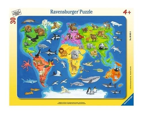 Puzzle ramkowe 30: Mapa Świata Zwierząt (6641)