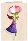 Karnet drewniany C6 + koperta Róża