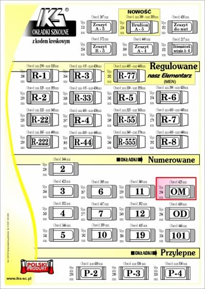 OKLADKI KSIAZKOWE nr OM - IKS /50/ IKS