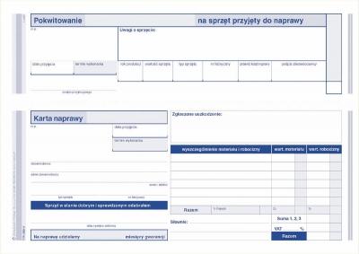 Druk samokopiujący Michalczyk i Prokop S wiel. pokwitowanie - karta naprawy spzętu przyjętego do naprawy A5 80k. (600-3)