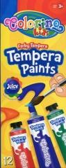 Farby Tempera w tubach z pędzelkiem 12 kolorów