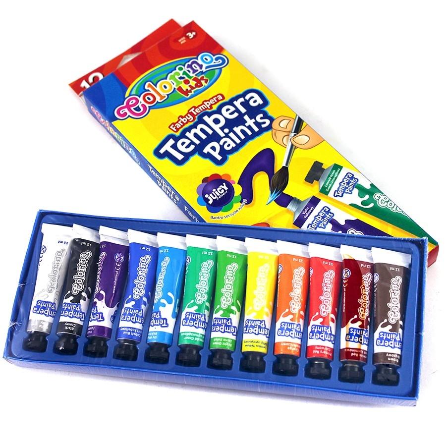 Farby Tempera w tubach Colorino Kids, 12 kolorów (68420PTR)