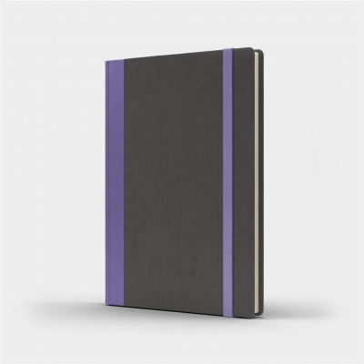 Notatnik A5 Pro M+ kropki szary/fioletowy