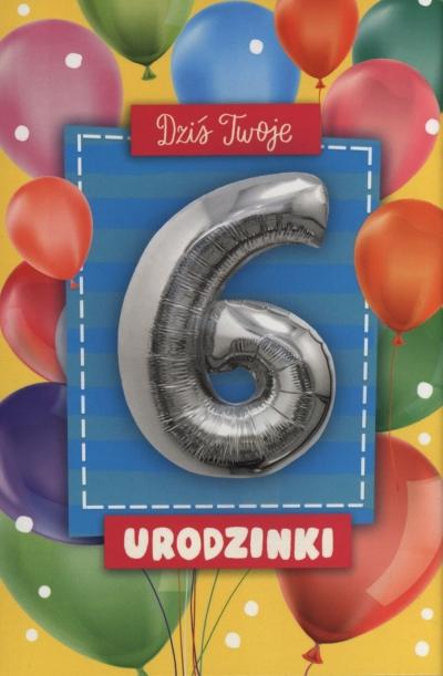 Karnet z balonem 6 Urodzinki K.BALLOON-6 K-1175