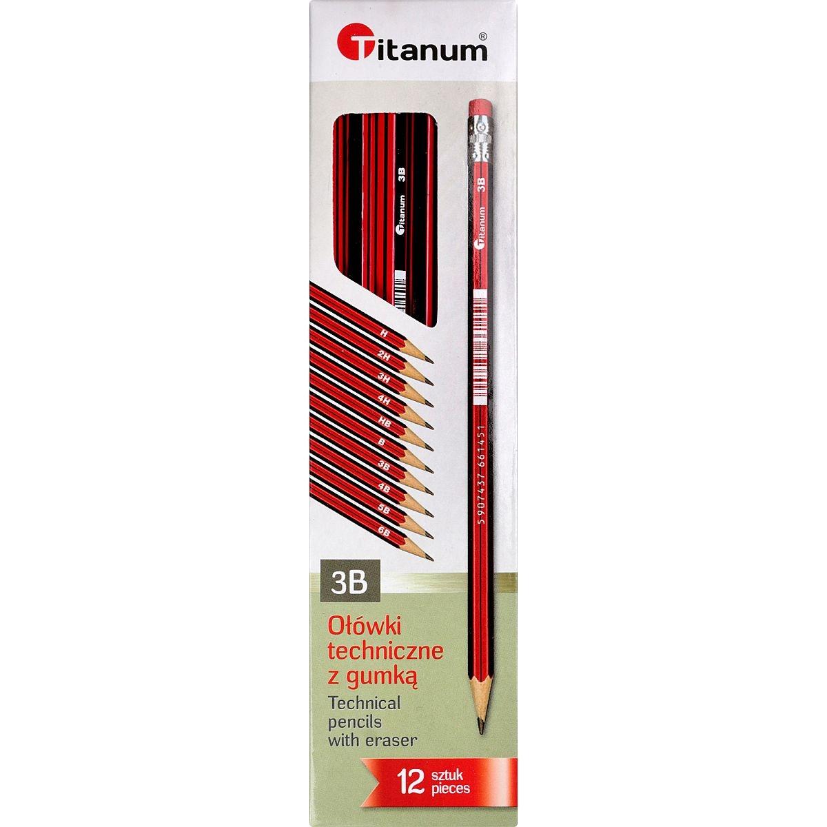 Ołówek techniczny Titanum 3B z gumką - 12 sztuk (83725)