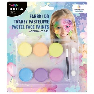 Farbki do twarzy pastelowe 6 kolorów KIDEA