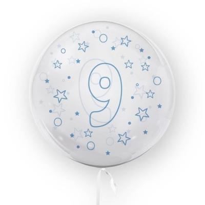 Balon Tuban 45cm cyfra 9 - Gwiazdki, niebieski (TB 3642)