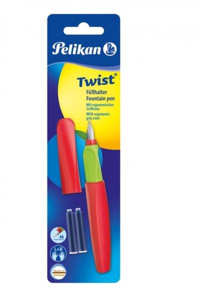 Pióro wieczne Twist czerwono-zielone + 2 naboje