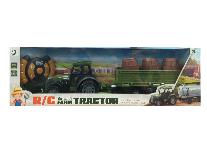 Traktor RC z przyczepą i beczkami (116426)