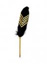 Długopis z piórem czarno-złoty
