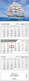 Kalendarz 2018 Trójdzielny Żaglowiec