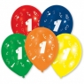 Balony lateksowe cyfra 1, 10 sztuk (48943)