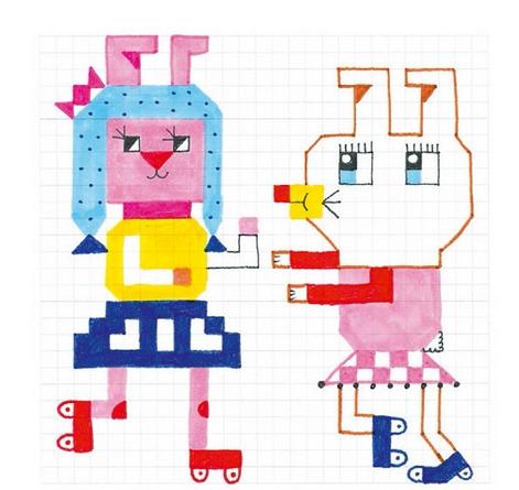 Kolorowanki pixele Hipster Girls (DJ09643)