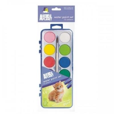 Farby akwarelowe 12 kolorów Animal Planet Cute