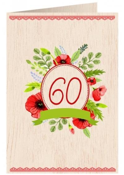 Karnet drewniany C6 + koperta Urodziny 60