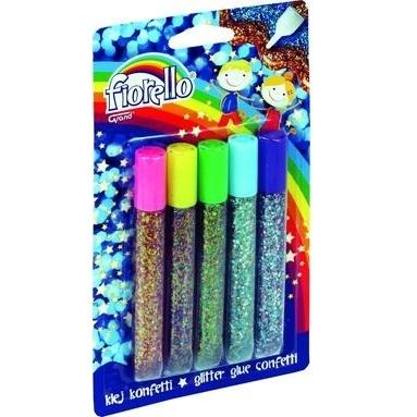 Klej brokatowy confetti Fiorello 5 kolorów (318360)