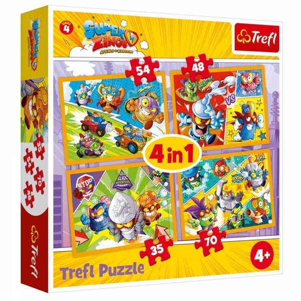 Puzzle 4w1: Super Zings (34343) (Zgnieciony kartonik)