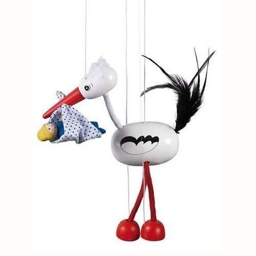 Marionetka Bocian z dzieckiem