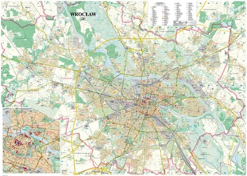 Wrocław mapa ścienna laminowana 1:26 000