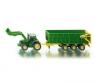 Siku Farmer - Traktor John Deere z przyczepą i ładowarką (S1843)