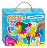 Puzzle dwustronne literki i cyferki słoń