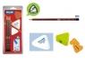 3 ołówki trójkątne HB MILAN + gumka 428 + temperówka AFILA trójkątna na blistrze