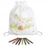 Bawełniany worek do kolorowania z kredkami - Konik