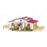 Stajnia z różowym dachem i akcesoria