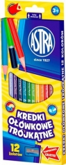 Kredki ołówkowe trójkątne Astra 12 kolorów