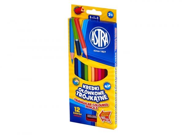 Kredki ołówkowe trójkątne Astra, 12 kolorów (312110002)