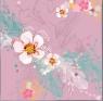 Karnet Swarovski kwadrat Kwiaty pastelowy róż