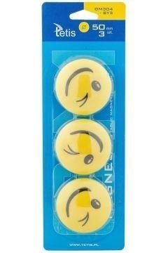 Magnesy do tablic żółte 50mm/3szt. - uśmiech (GM304-SY3)